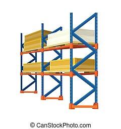 entrepôt, chargé, boîtes, etagères, caisses