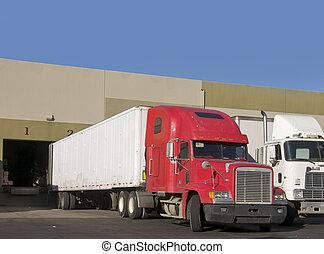 entrepôt, chargement, camion