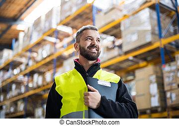 entrepôt, clipboard., mâle, ouvrier