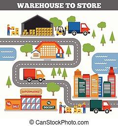 entrepôt, concept, magasin