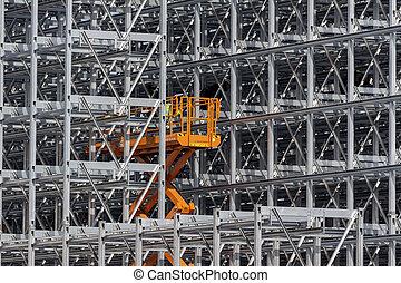 entrepôt, construction, étagère