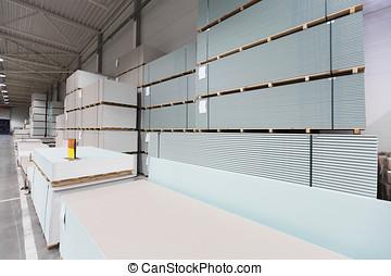 entrepôt, construction, tas, placoplâtre