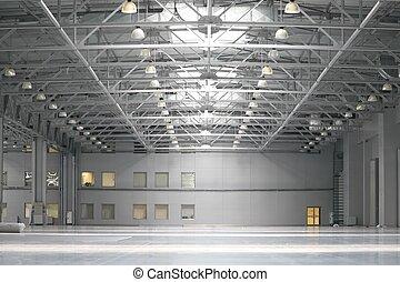 entrepôt, dans, centre commercial