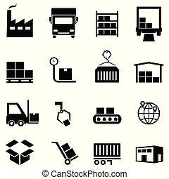 entrepôt, distribution, logistique, icônes