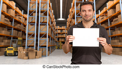 entrepôt, distribution, message