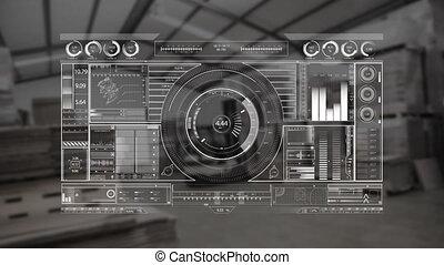 entrepôt, dj, fond, numérique, équipement