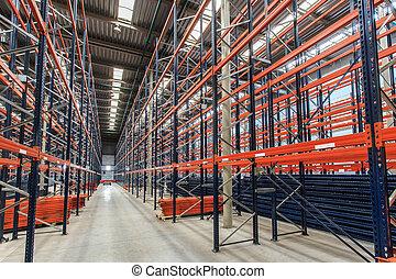 entrepôt, etagères, vide