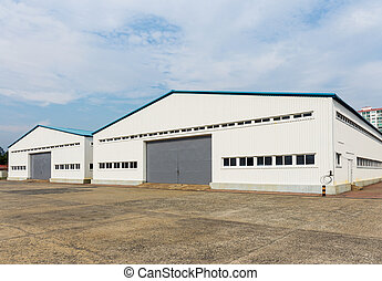 entrepôt, extérieur, stockage