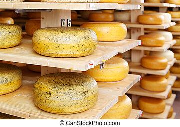entrepôt, fromage, usine, ronds