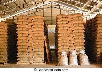 entrepôt, grains café