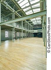 entrepôt, grand, espace