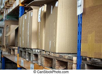 entrepôt, grand, produits, cartons