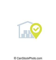 entrepôt, icône, distribution, logistique