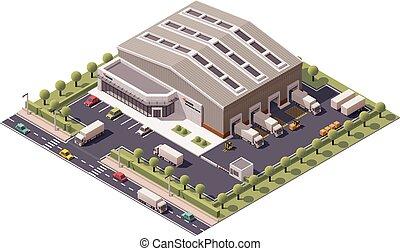 entrepôt, isométrique, vecteur
