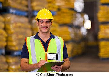 entrepôt, jeune, ouvrier