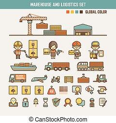 entrepôt, logistique, infographic, éléments