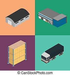 entrepôt, logistique, isométrique, ensemble, icône