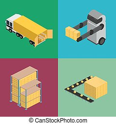 entrepôt, logistique, isométrique, icône, ensemble