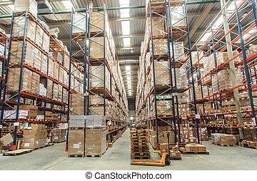 entrepôt, marchandises, étagères