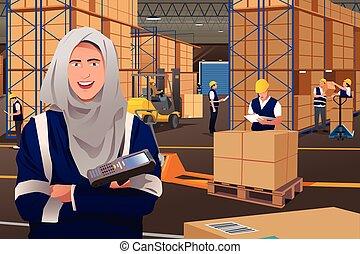 entrepôt, musulman, femme, fonctionnement
