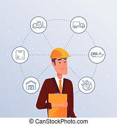 entrepôt, options., directeur, choisir, logisitics