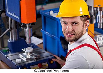 entrepôt, ouvrier, pendant, métier