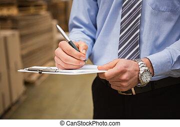 entrepôt, ouvrier, vérification, sien, liste, sur, presse-papiers