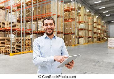 entrepôt, pc, heureux, tablette, homme affaires