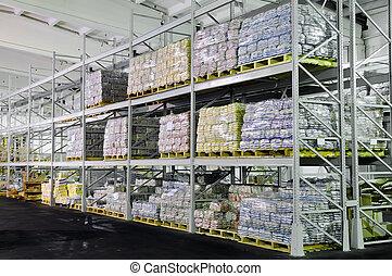 entrepôt, production, étagères