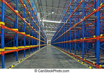 entrepôt, rayonnage, système stockage