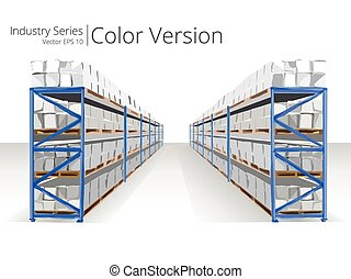 entrepôt, shelves.