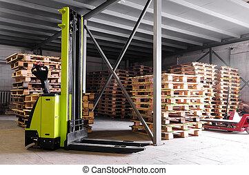 entrepôt, stacker, forklifter