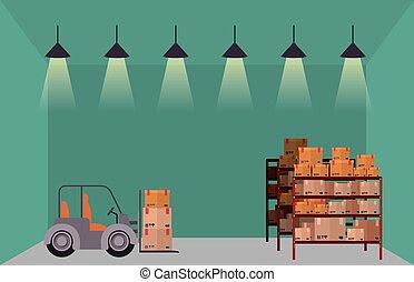 entrepôt, stockage, conception