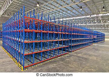 entrepôt, stockage, etagères