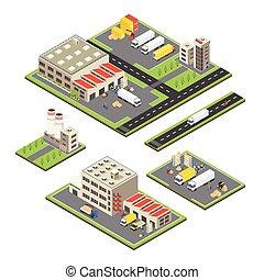 entrepôt, territoires, isométrique, ensemble
