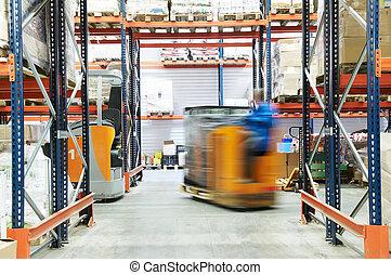 entrepôt, travaux, camion, chargeur