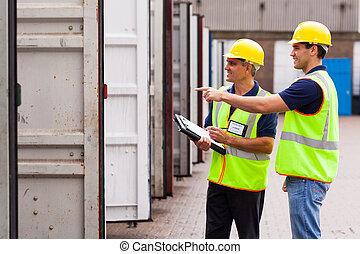 entrepôt, vérification, ouvriers, ouvert, récipients