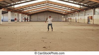 entrepôt, vide, danseur, mâle