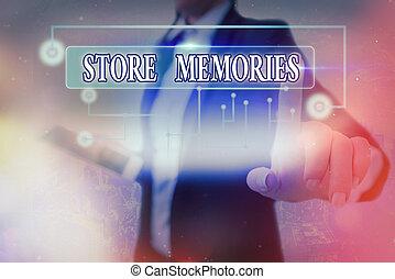 entreposant données, acquired., entrer, conceptuel, magasin, projection, signe, texte, previously, photo, memories., processus