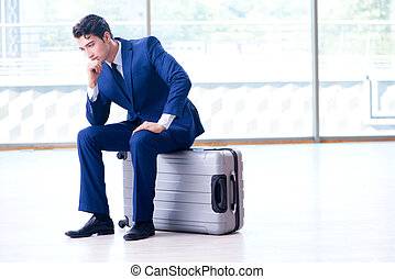 entreprenör avvakta, för, hans, flykt, hos, flygplats