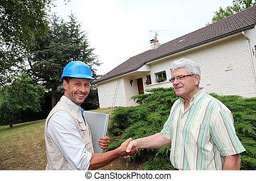 entreprenör, klient, hand skälv