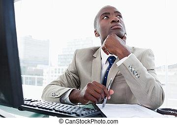 entreprenör, medan, dator, tankfull, arbete
