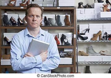 entreprenör springa, direkt, sko lagret