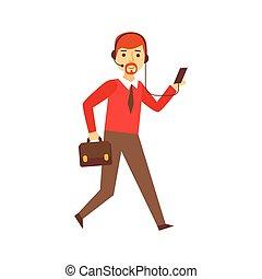 entreprenör springa, till arbeta, med, resväska, och, hörlurar med mikrofon, för, smartphone, person, existens, direkt, alla, den, tid, besatt, med, grej