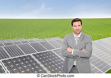 entreprenör stå, av, photovoltaic, installation