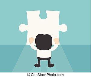entreprenör stå, framme av, tom, problem, vägg, till, fynd, a, försvunnen, stycke
