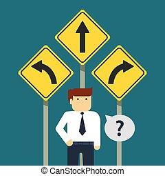 entreprenör stå, framme av, tre, pilar
