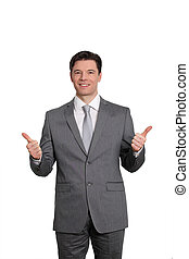 entreprenör stå, vita, bakgrund