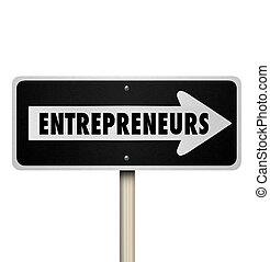 entreprenörer, en väg, vägmärke, riktning, ny...