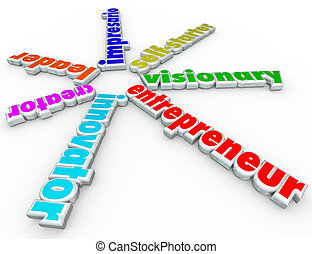 Entrepreneur 3d words including innovator, creator, leader, impresario, self-starter and visionary to symbolize someone who starts a new business